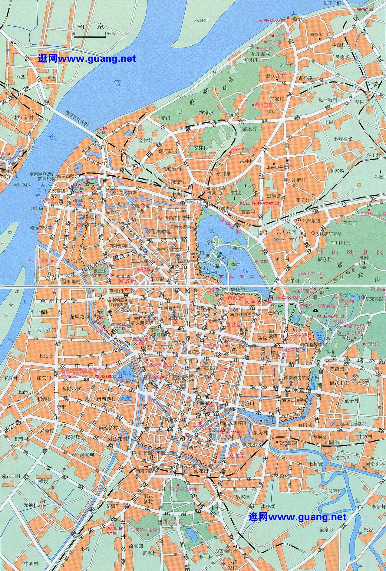 2015年版南京地图,六合区,江宁区,浦口区