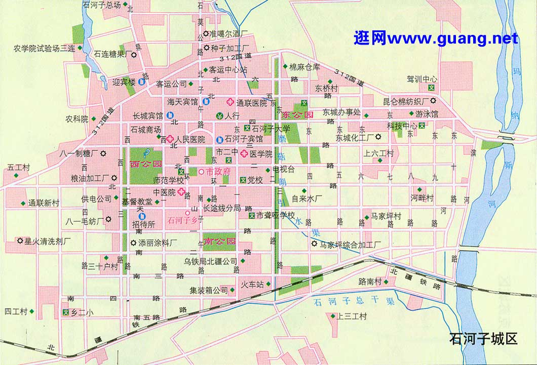 石河子市区地图